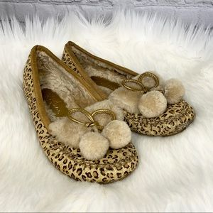 Cole Haan Leopard Calf Hair Moccasin Lined Flats